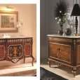 Creaciones Fejomi, classic chest of drawers with marquetry, marquetry classic console with marble, hand carved classic mirror, wooden marquetry side table