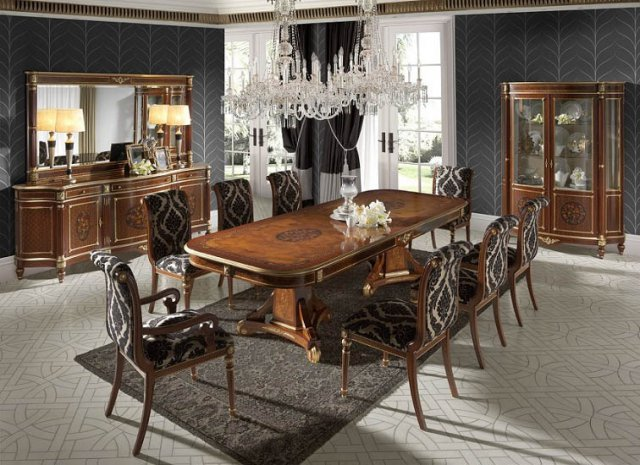 Creaciones Fejomi, Classic Luxury Furniture For Dining Room, Dining Table  With Marquetry, Chest